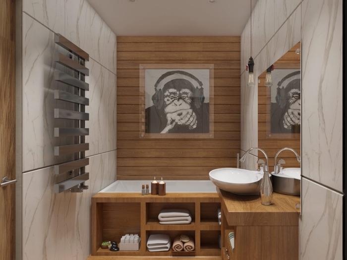 déco de petit espace humide avec meuble vasque salle de bain à rangement ouvert de bois clair et lavabo blanc