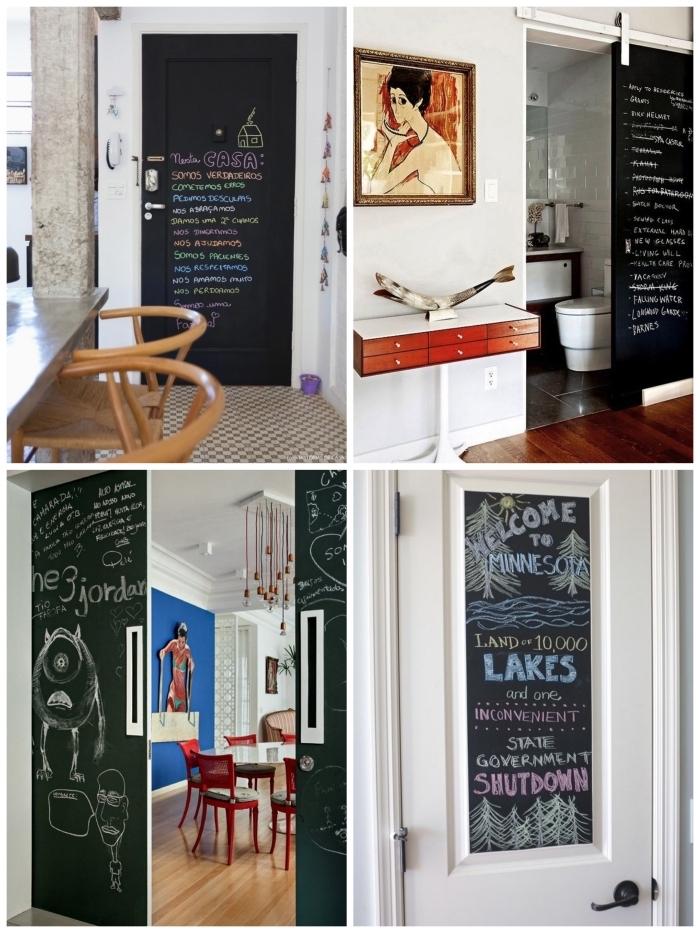 de la peinture ardoise au dos de la porte de la cuisine ou la salle de bains, peinture porte en ardoise dans la cuisine pour une ambiance bistrot