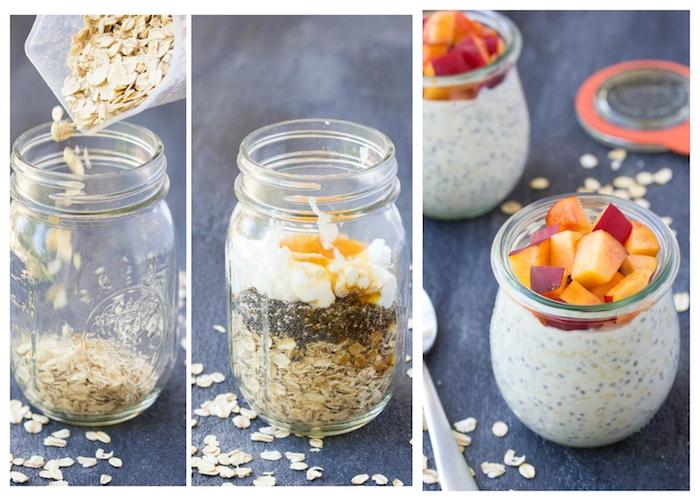 petit déjeuner équilibré pour maigrir, pot en verre rempli de graines de chia, flacons d avoine, miel, yaourt et lait