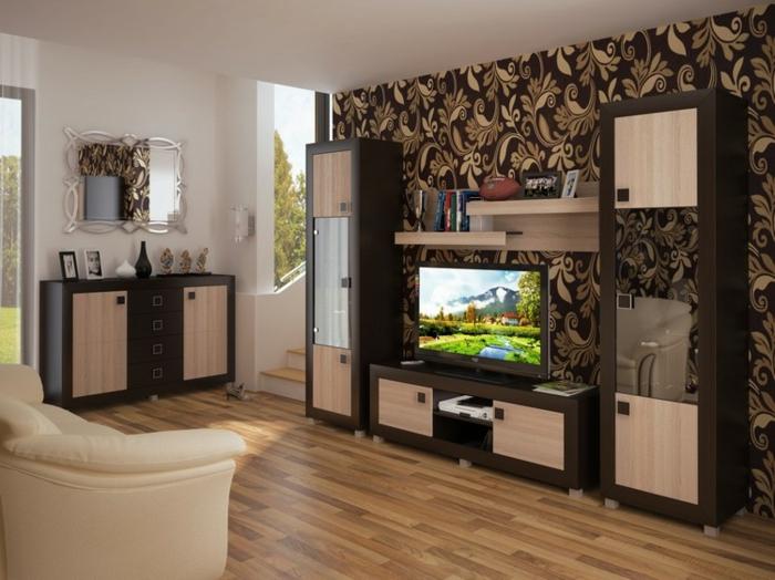 meuble moderne pour salle de séjour, parquet bois clair, fauteuil crème, meuble wengé