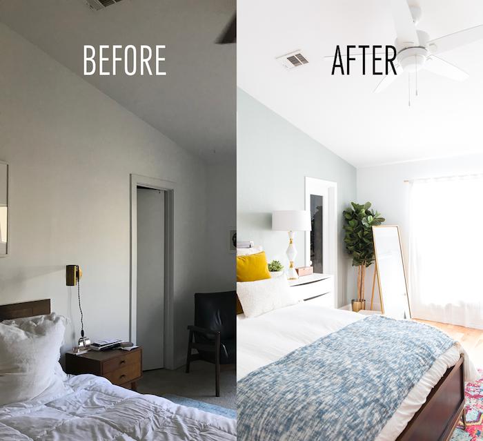 Adorable deco chambre adulte, aménagement chambre 10m2, faire des décorations soi meme, photo avant et après renovation