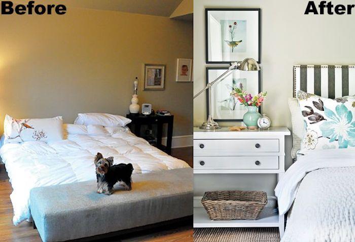 Comment aménager chambre 9m2, photo avant et après, deco chambre mansardée, quelle est la meilleure idée déco