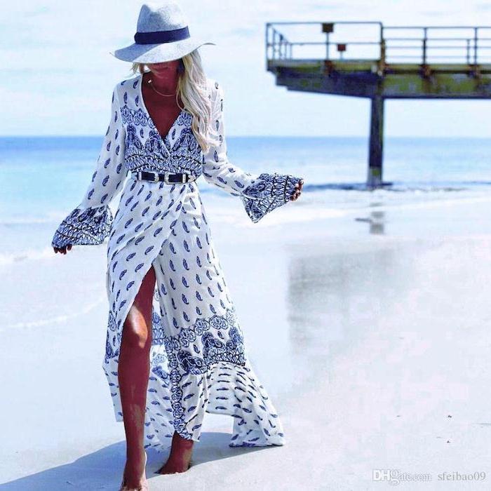 Vacances au bord de la mer photo femme longue robe fendue style champetre chic tenue robe style champetre pour toute occasion robe fleurie