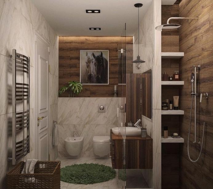 idée déco de salle de bain blanche et bois avec revêtement en carrelage marbre et rangement vertical caché autour de la douche