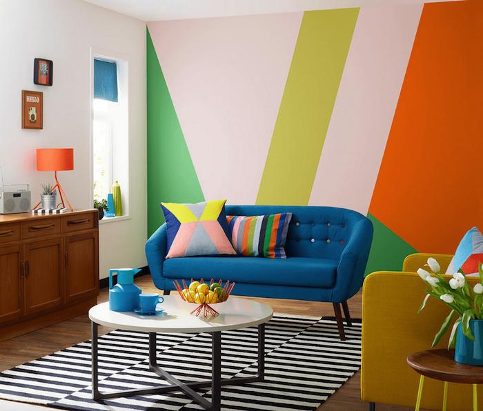 Déco salon pop art style cocooning déco séjour intérieur moderne pièce familiale