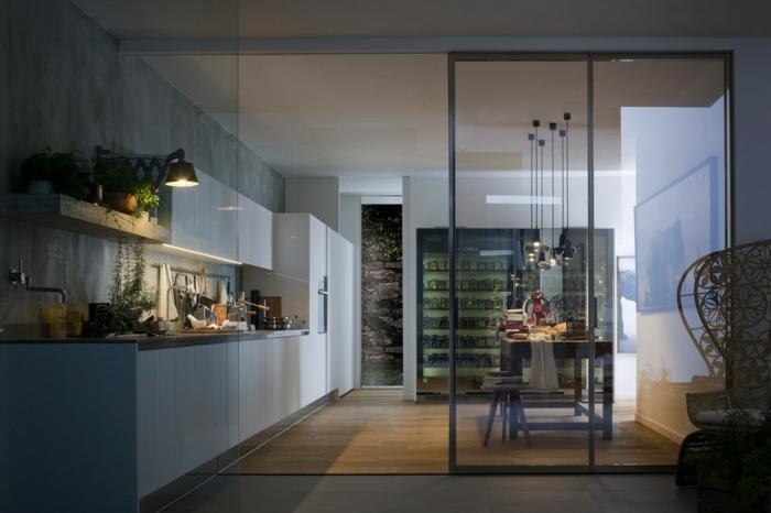 porte coulissante verriere, cuisine grise avec beaucoup de plantes vertes, verrière industrielle de cuisine