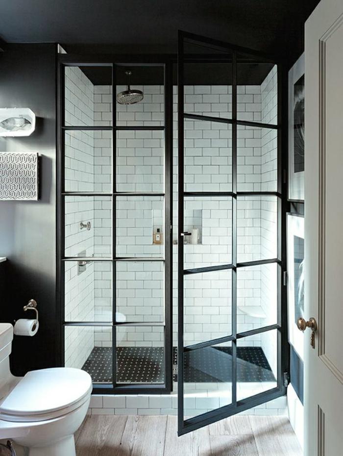 verriere douche, verriere salle de bain, cloison verriere, separation verriere en métal noir avec verre transparent, style rétro
