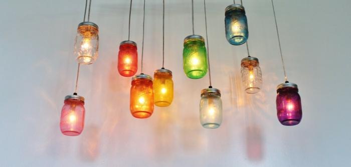 guirlande lumineuse led, guirlande lumineuse boule, guirlande lumineuse chambre dans des pots colorés en verre, lampes suspensions