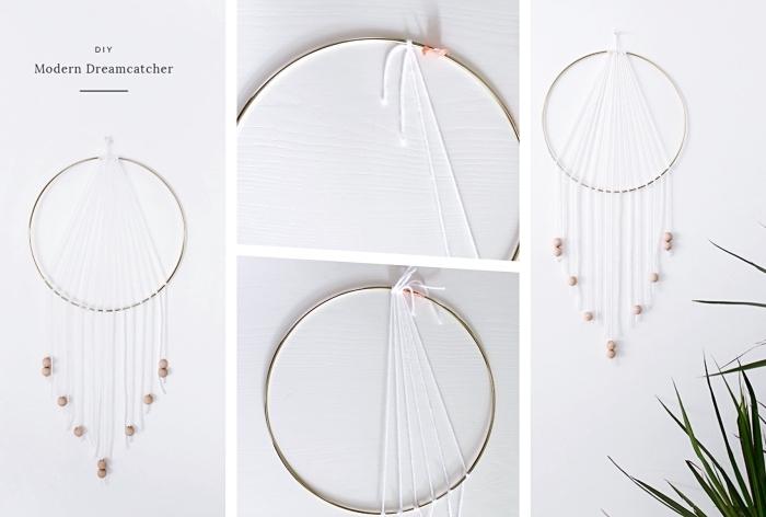 idée comment faire une déco murale à design bohème chic, modèle de suspension murale avec fil blanc et perles de bois