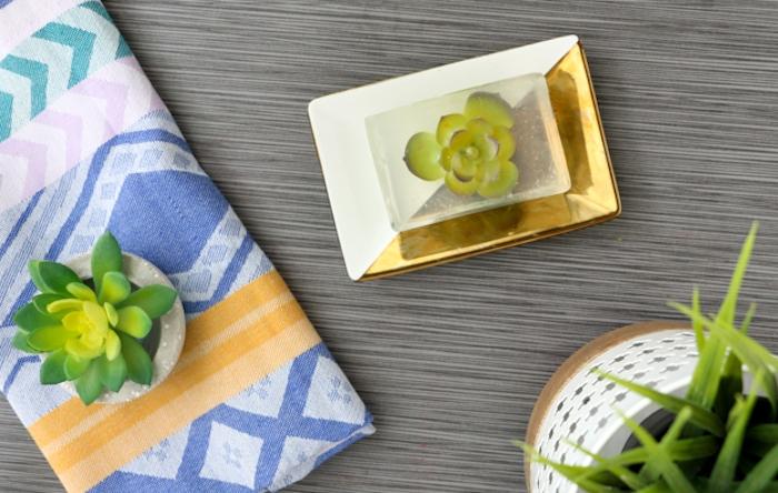 savon fait main transparent avec une plante succulente artificielle à l intérieur, activité manuelle pour ado et adulte