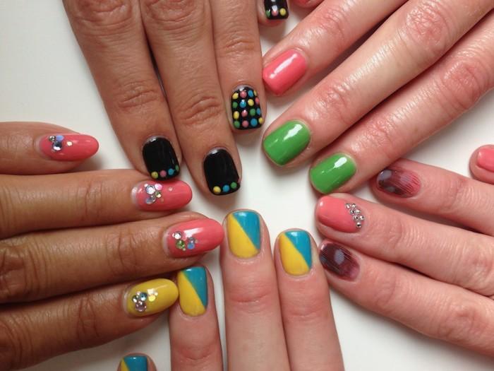 Ongle gel couleur, idee ongle deco dessin sur ongle, mode vernis en gel, quelle couleur choisir