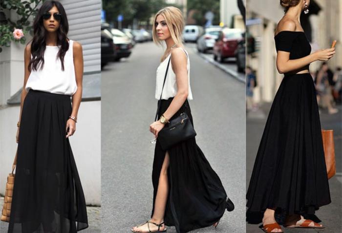 comment porter la jupe longue fendue, sandales plates et tops fluides, style vestimentaire d'été