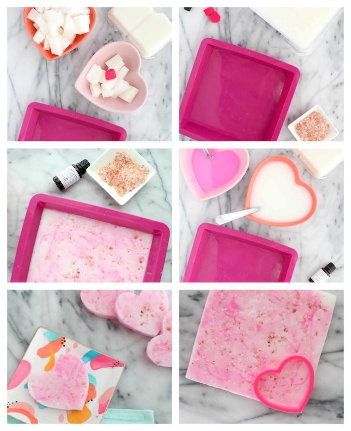 savon bio au lait de chèvre en blanc et rose avec du sel de l himalaya et huile essentielle, cadeau saint valentin fait main