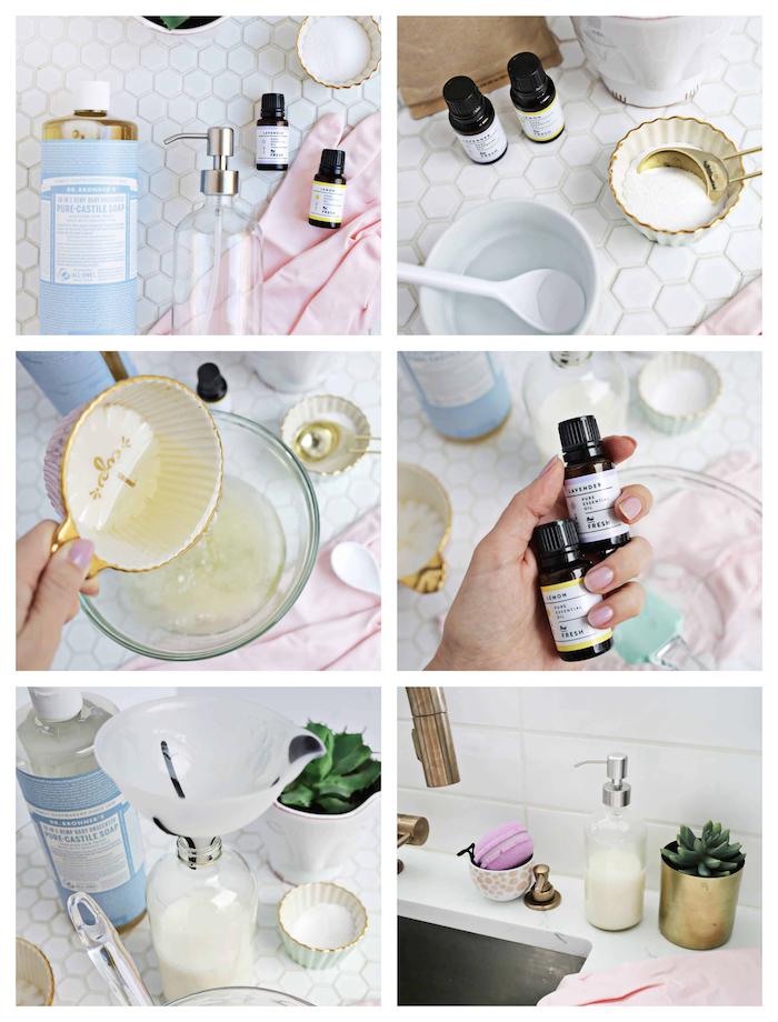 fabriquer du savon détergent vaisselle fait maison avec du savon de castille et huile essentielle de citron et lavande