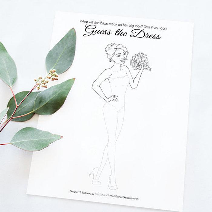 Jeux evjf idée enterrement de vie de jeune fille design de robe dessiner et deviner la robe de mariée soiree evjf idee activité original