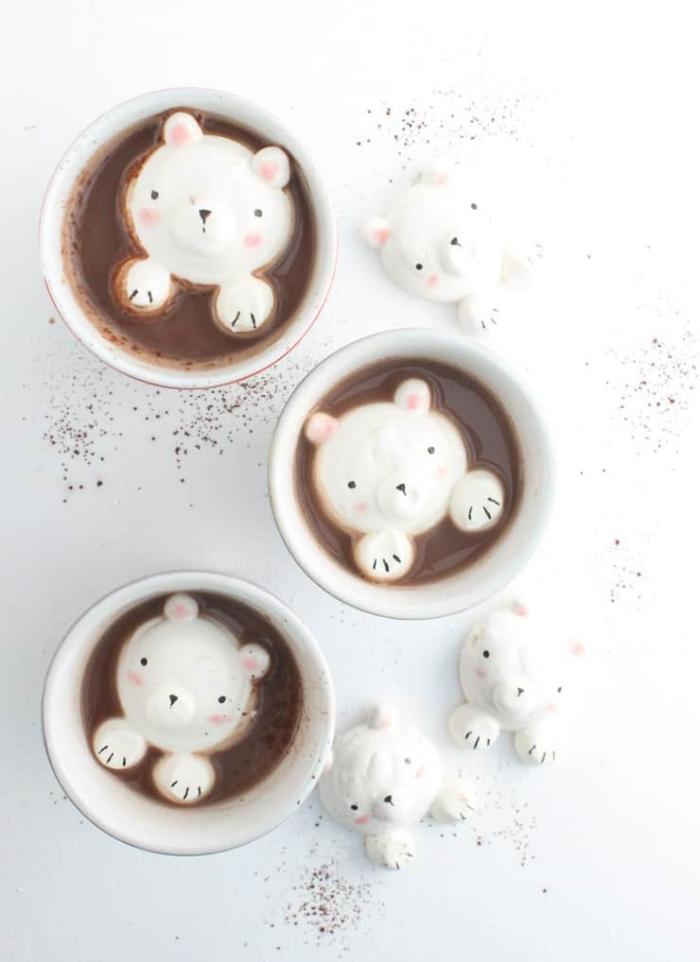 recette d'ourson guimauve mignon sans moule, recette originale de chocolat chaud de noel