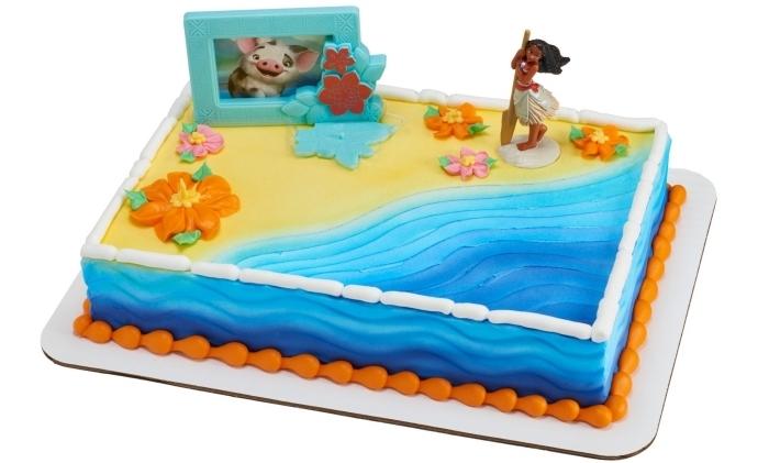 modèle de gateau anniversaire vaiana sur le thème de Disney, idée comment décorer un gâteau anniversaire enfant
