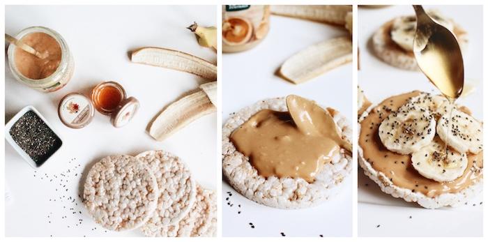 recette pour un petit dejeuner minceur avec galette de riz souddlé aux beurre d arachide et bananes, topping de miel ou sirop d érable