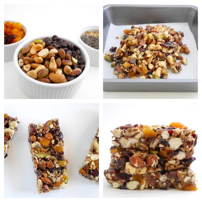 exemple de barre protéinée de noix et graines, beurre d amande et sirop d érable, petit déjeuner protéiné simple