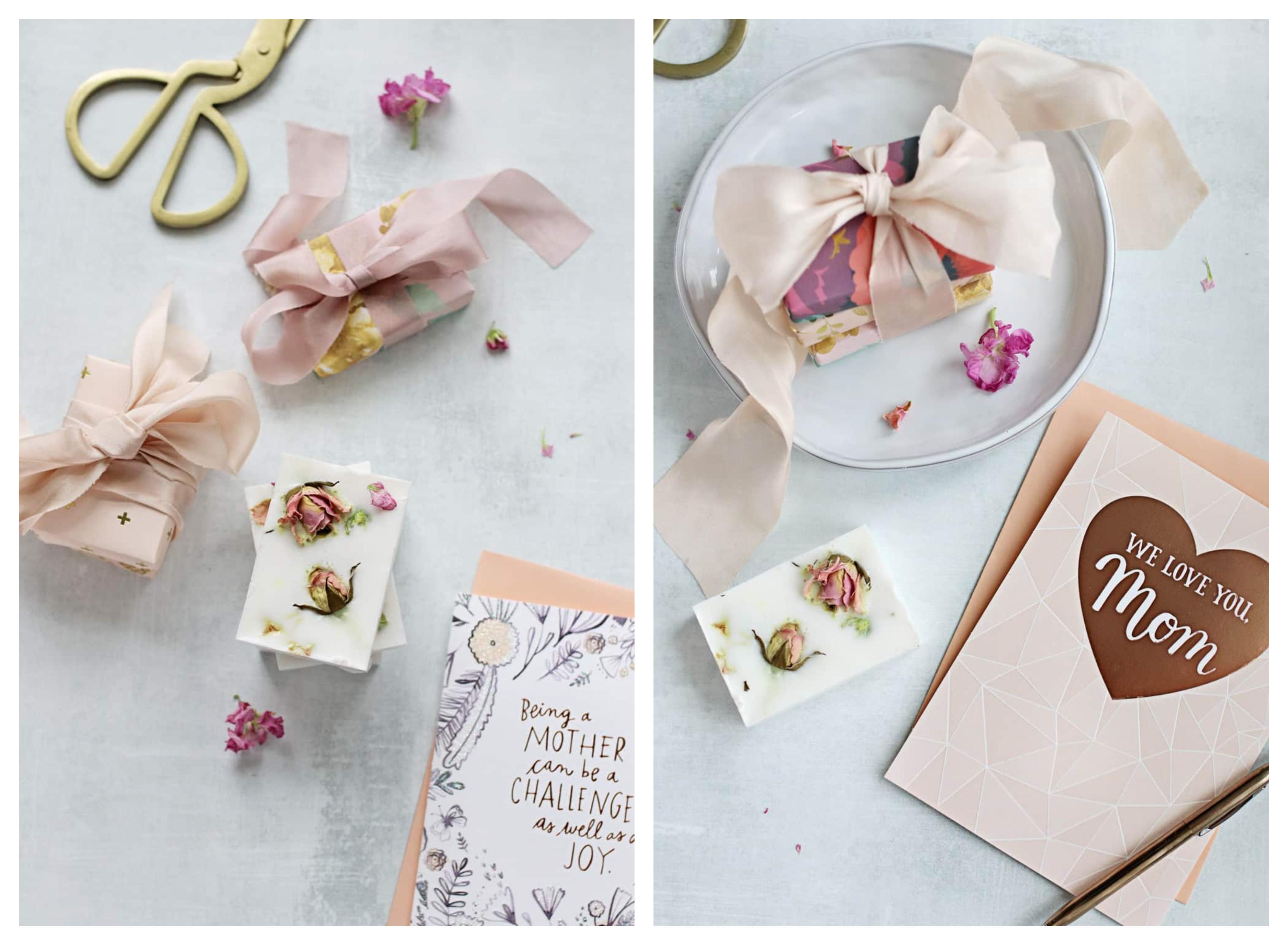idée cadeau meilleure amie diy ou cadeau fete des meres a fabriquer soi meme avec savon au lait de chèvre et des pétales de roses séchées
