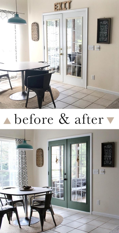 avant et après d'une porte vitrée repeinte en vert avec un bouton meuble noir mat, relooker une porte avec de la peinture et une nouvelle poignée tendance