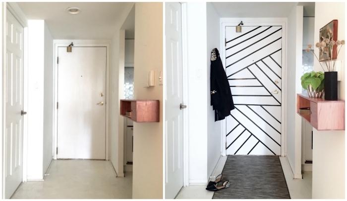 une porte d'entrée relookée avant et après à l'aide de quelques bandes de masking tape, porte d'entrée à rayures noires