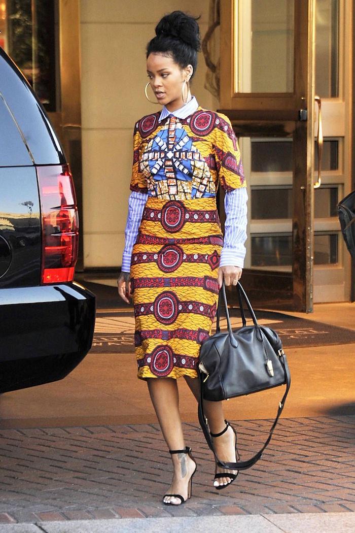 rihanna en tenue pagne en wax robe ankara style africaine