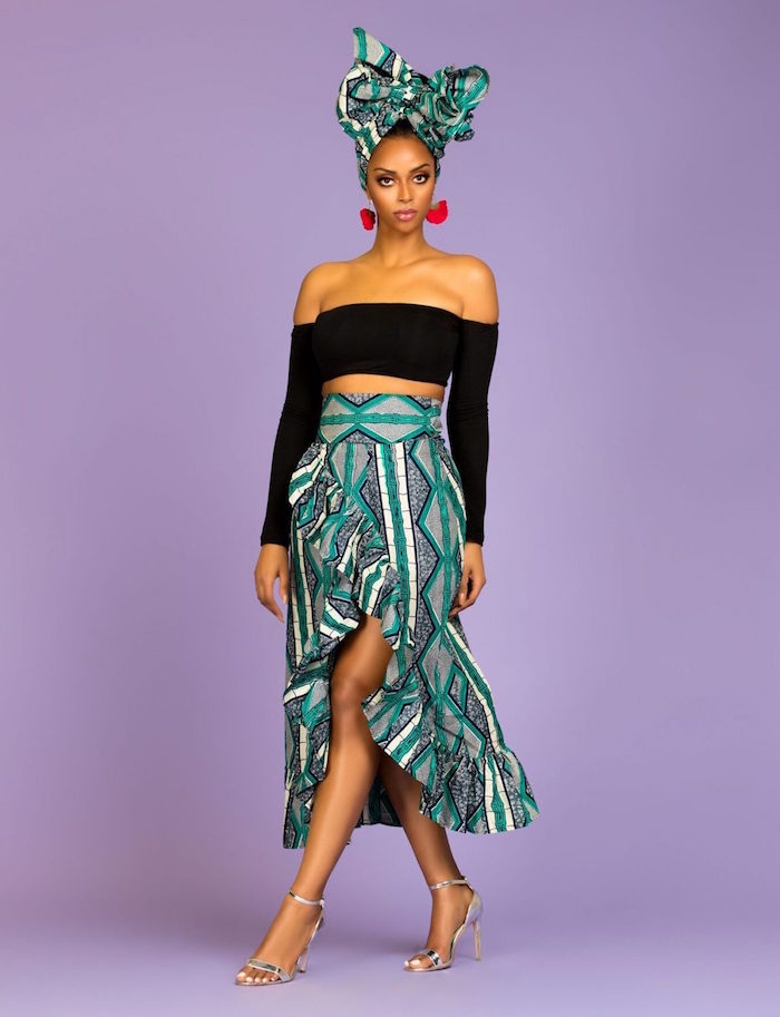 jupe africaine moderne avec coupe design sophistiquée avec foulard assorti vert