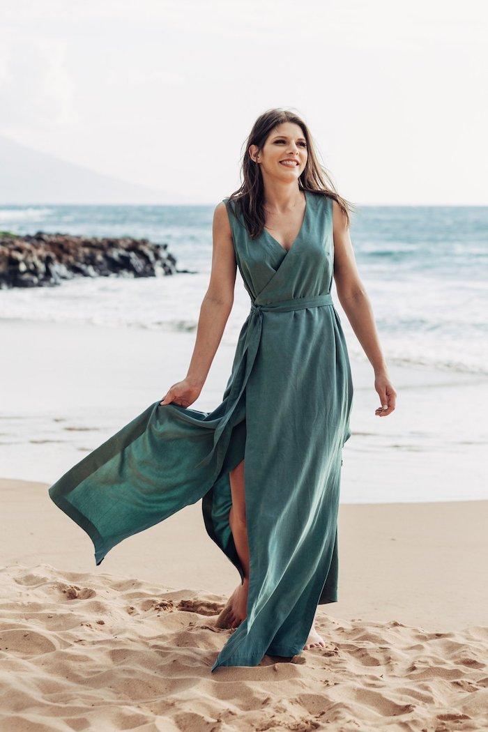 Vetement champetre femme mariage champetre chic tenue invitée tenue élégante au bord de la mer mariage sur la plage robe longue fendue
