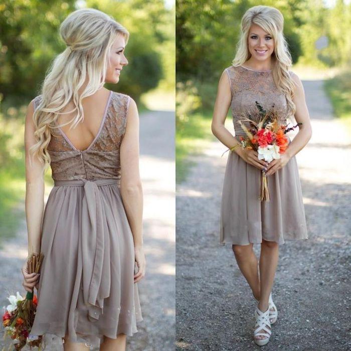 Tenue de mariage chic et champetre tenue vetement champetre être une femme bien habillee robe courte beige bouquet de fleurs champetres