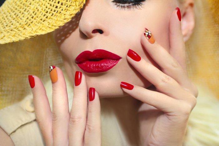 Deco ongle facile, deco ongle originale à couleur été 2018, idées pour la manucure d'été, rouge et orange motif ongle gel