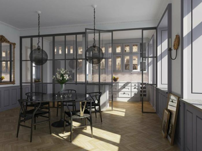 jolie cuisine grise avec verriere industrielle cuisine, lampes suspendues rondes