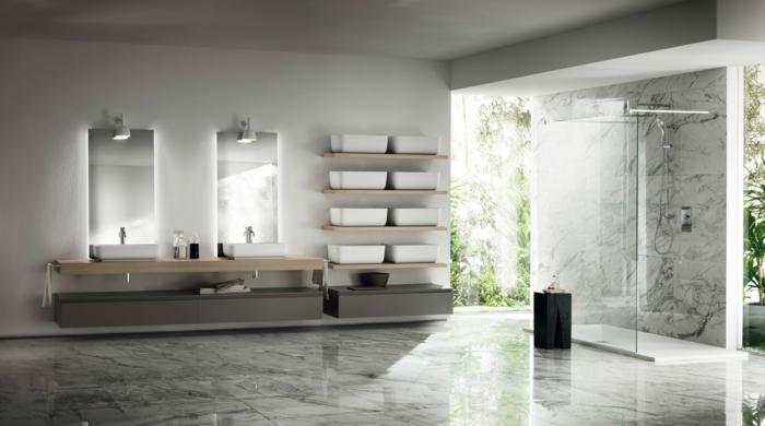 cloison verriere, separation verriere, verriere salle de bain, carrelage du sol en marbre lisse brillant, deux miroirs rectangulaires
