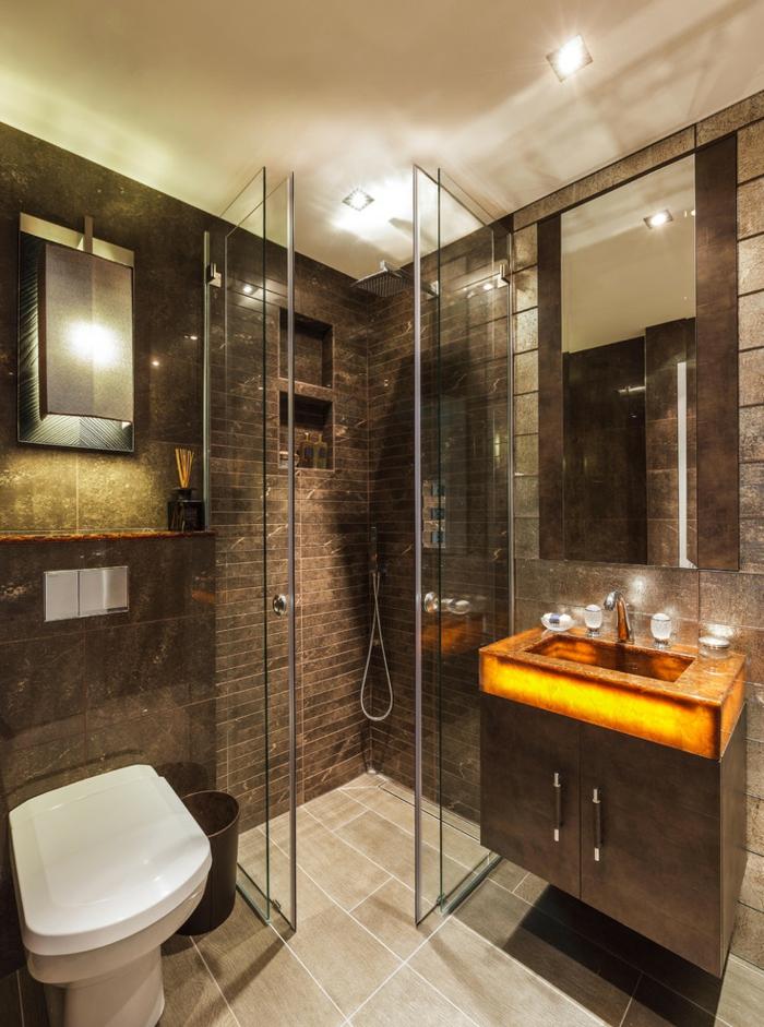 salle de bains sombre, wengé couleur, évier lumineux en pierre naturelle, tuiles mosaiques
