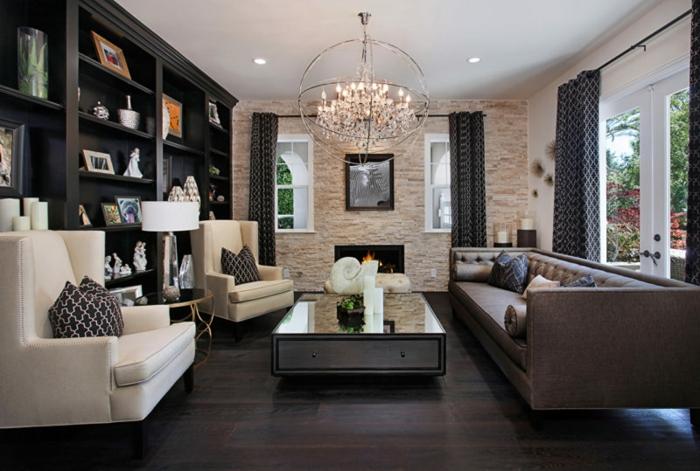 chandelier rustique, table basse salon, parquet bois wengé, grande bibliothèque wengé couleur