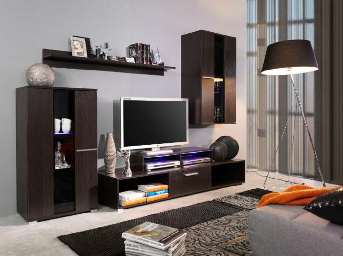 séjour contemporain, meuble wengé dans l'intérieur contemporain, meuble de tv original