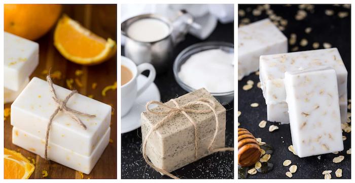 recette savon maison sans soude aux ingrédients naturels, zeste d orange, café, miel et flacons d avoine, produit beauté bio diy