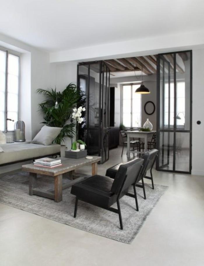 jolie separation cuisine salon, verrière à portes battantes, chaises noires, tapis gris, intérieur minimaliste