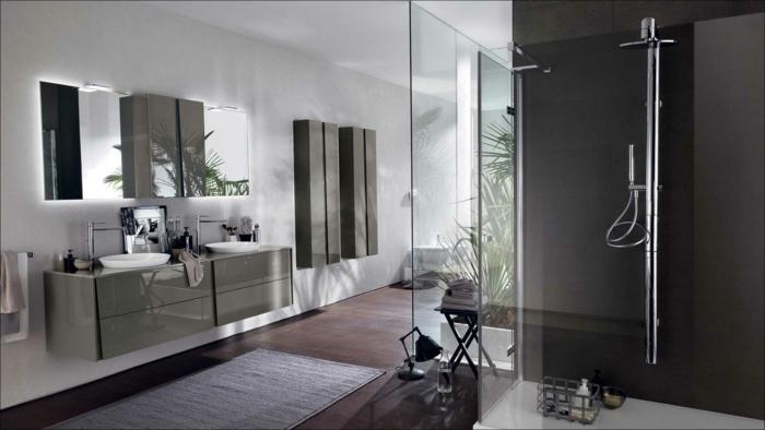 salle de bain avec verrière, verriere salle de bain, deux meubles suspendus en vert olive avec deux lavabos, porte verrière coulissante