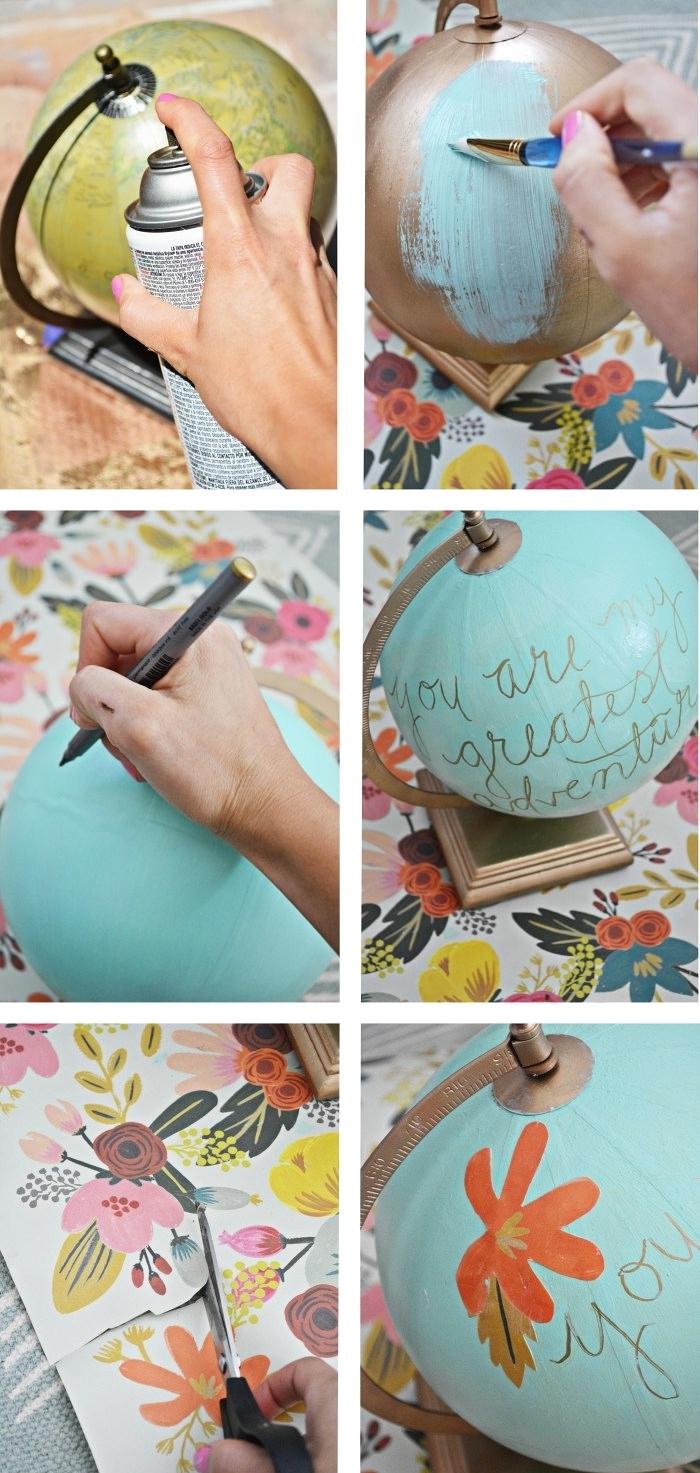 exemple d'activité manuelle pour ado avec une décoration sur globe terrestre coloré et orné de coupures design floral