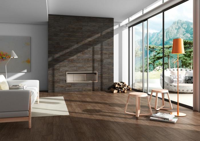 parement mural wengé, sol parquet wengé, sofa scandinave gris et bois, baies vitrées