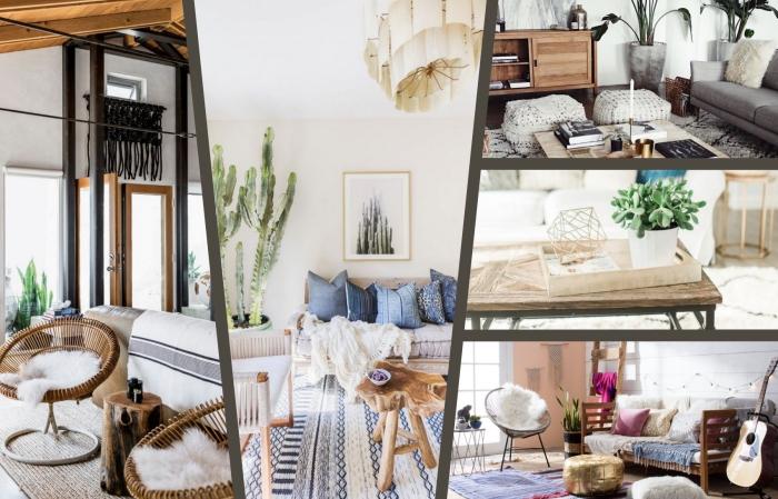 idée pour une deco boheme chic dans appartement moderne, modèle de canapé beige couvert de coussins décoratifs bleus