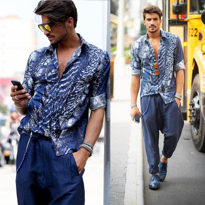 vetement boheme chic pour homme avec chemise bleu blanc et pantalon sarouel en lin marine pour été