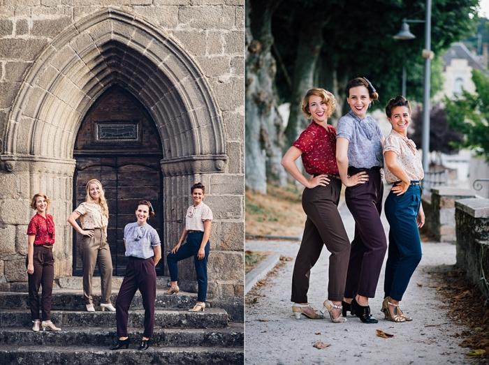 look année 50, pantalons avec des tailles hautes et chemises, sandales à hauts talons