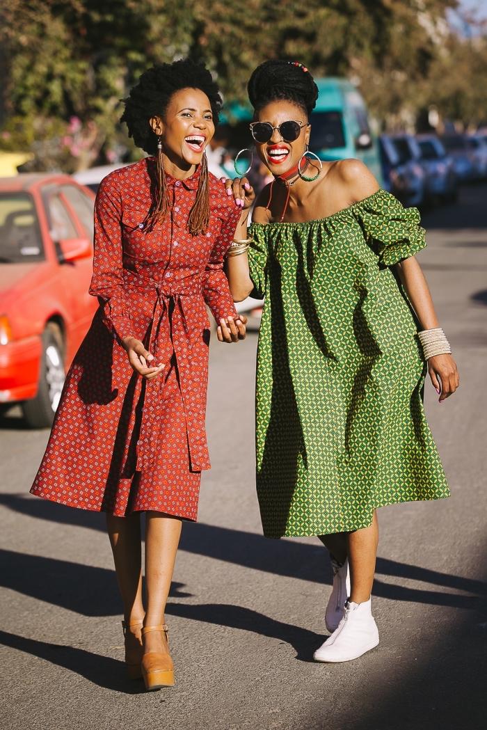 deux modèle de robe wax à coupe moderne pour une vision ethnique chic  originale, comment