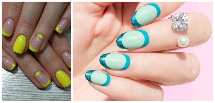 Deco ongle gel, ongle deco, idée deco ongle facile, photo ongle french originale en jaune et en bleu