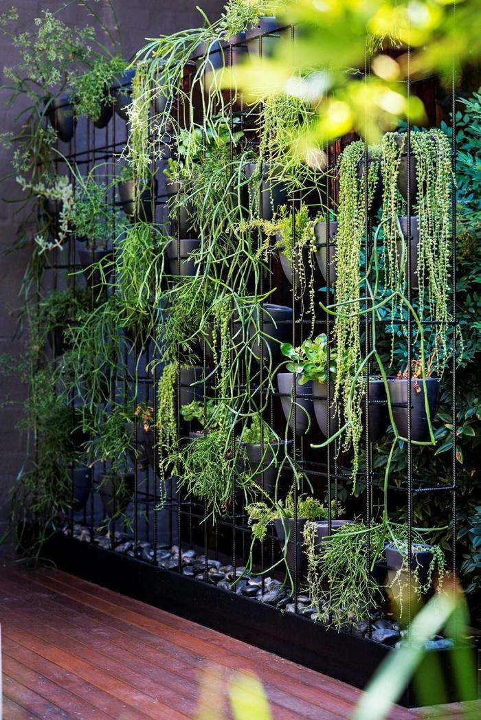 un mur végétal d'extérieur aménagée dans une structure en grille métallique avec espace pour des pots, idéal pour créer une ambiance relaxante dans un petit jardin