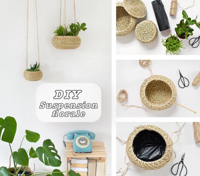 exemple activité manuelle adulte ou ado, modèle suspension florale pour plantes vertes, suspension florale DIY