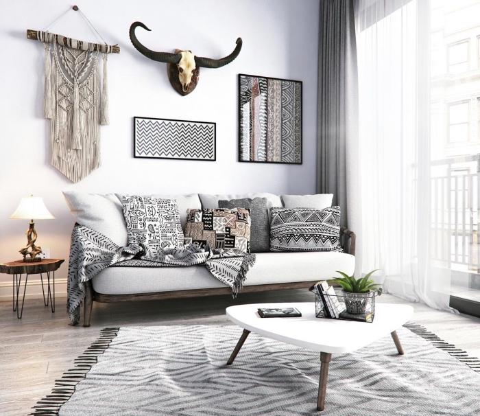 ambiance africaine et boho chic dans un salon moderne, modèle de diy macramé avec branche de bois flottante