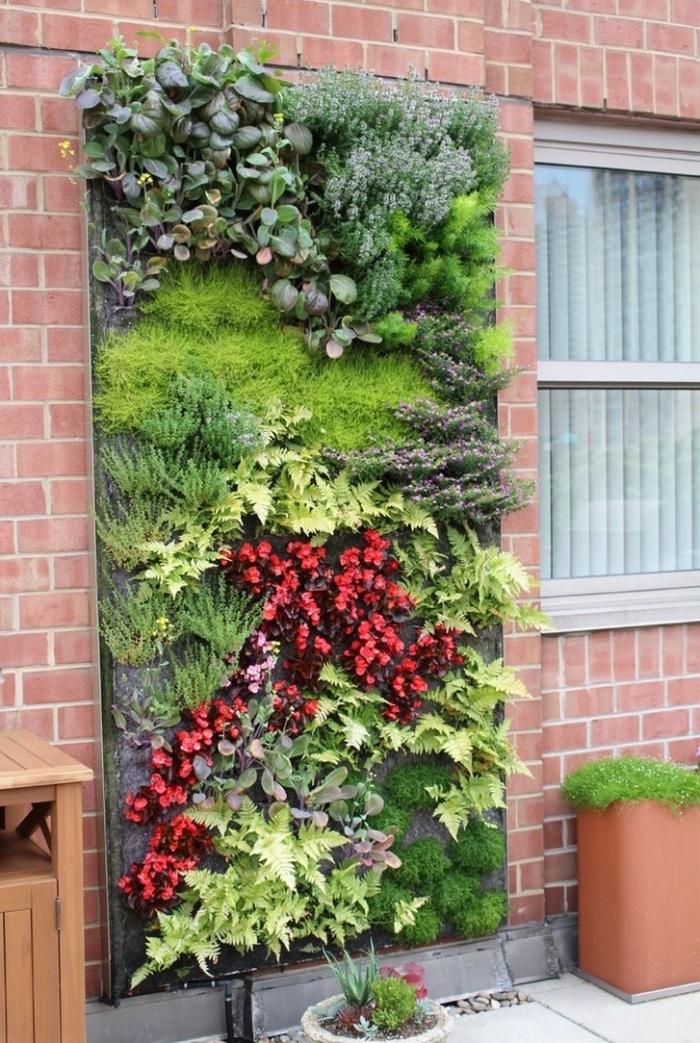 système de mur végétal extérieur avec un support, plusieurs couches d'aquanappe et un système d'arrosage automatique intégré